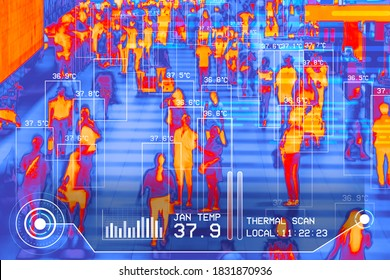 internationaler Fluggäste Infrarot-Infrarot-Wärmebildkamerasensor am Flughafen für die Erkennung von Korona-Virus covid-19 Infektionskrankheit, Personengruppe
