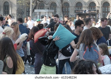 International Pillow Fight Day 2017 in Bucharest, Romania. April 1 in cities around the World.