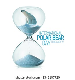 International Polar Bear Day awareness concept with polar bear on a melting ice in a hourglass