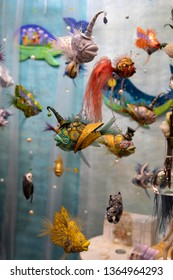 "The XІХ International Puppet Exhibition ""Fashion Doll"", Ukraine, Kiev, from April 5 to April 7, 2019. Ceramic fish handmade."