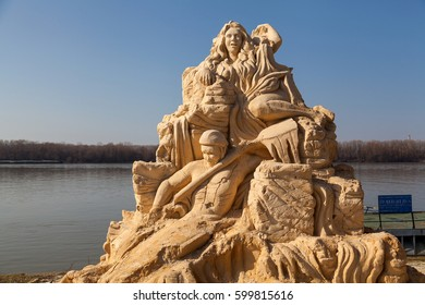 "International Sand Sculpting Festival situated on the bank of the Danube river in May 2016 in   Ruse, Bulgaria;  ""Sports Fame, World and Olympic Symbols"" theme - picture taken on 26 February 2017"
