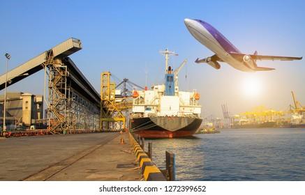 International shipping Cargo, boat, truck and plane transportation