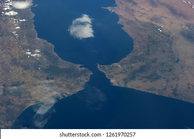International Space Station, 14 June 2014 - Strait of Gibraltar, showing parts of Morocco and Spain. Elements of this image furnished by NASA.