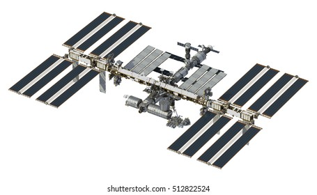 International Space Station On White Background. 3D Illustration.