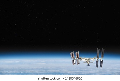 International Space Station in orbit. Elements of this image furnished by NASA.