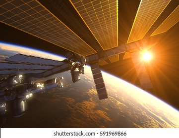 International Space Station In The Rays Of Red Sun. 3D Illustration.