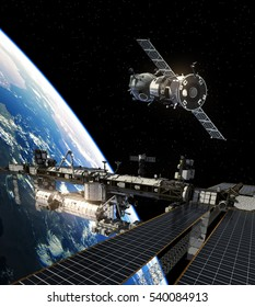 International Space Station And Spacecraft. 3D Illustration.