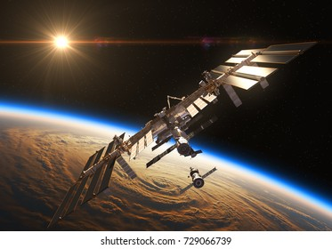 International Space Station And Spacecraft In The Background Of Rising Sun.3D Illustration.