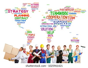 International teamwork with a group of people from many different professions