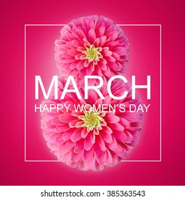 The international women's day on March, 8th greeting background with Flowers petal number 8