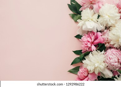 International Womens Day. Stylish peonies flat lay. Pink and white peonies border on pastel pink paper with space for text. Happy mothers day, floral greeting card mockup. Valentines day.