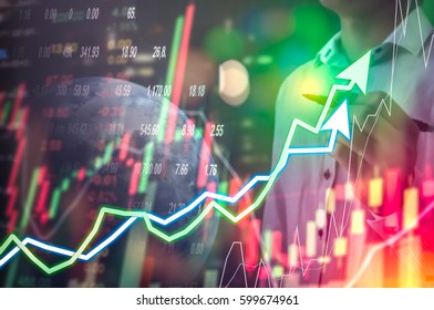 International World business Stock financial concept with businessman and pen in his hand, His business growth and progress with Stock market digital graph chart on LED display. World 3d.