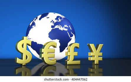 International world economy concept with currencies symbols and a globe with the world map on background 3D illustration for exchange business.
