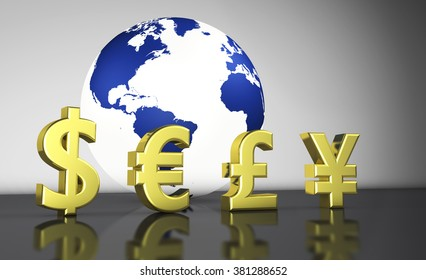 International world economy with currencies symbols and a globe with the world map on background illustration for currency exchange business.