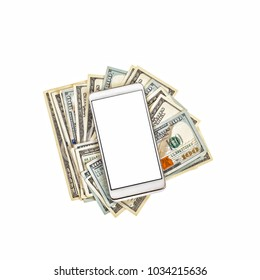 Internet Banking Online Payment Technology Concept. White smartphone on top of a pile of dollar bills. Isolated on white.