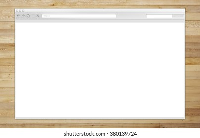 Internet Browser Window on the Wooden Background Illustration.