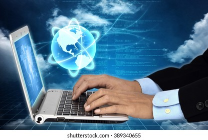 Internet for Business concept with businessman working on his laptop computer while connecting to the internet network