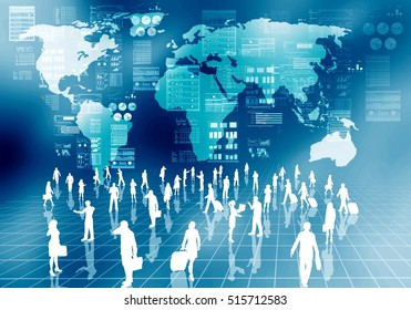 Internet business people doing their activity  in virtual world of internet