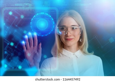 Internet. Business. Technology concept. Business girl presses a button on the vitral screen.