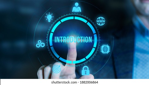 Internet, business, Technology and network concept.The concept of business, technology, the Internet and the network. virtual screen of the future and sees the inscription: introduction