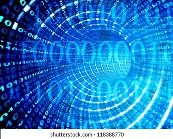 Internet concept -  3d abstract blue tunnel