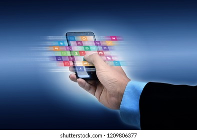 Internet concept. Businessman using a smart phone to browse or use application on line