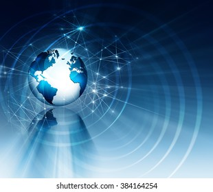 Internet Concept of global business. Globe, glowing lines on technological background. Electronics, Wi-Fi, rays, symbols Internet, television, mobile and satellite communications