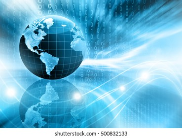 Internet Concept of global business. Globe, glowing lines on technological background. Wi-Fi, rays, symbols Internet, 3D illustration