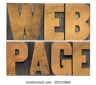 internet concept - web page - isolated text in vintage letterpress wood type