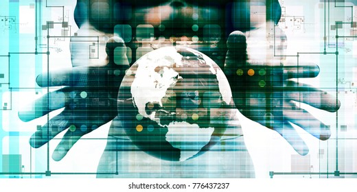 Internet Concept of the World Wide Web or WWW 3D Render