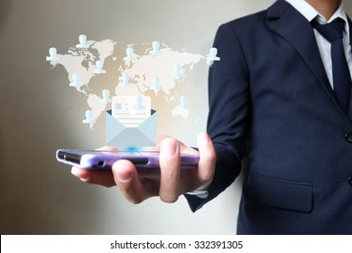 internet contract mail around world on mobile  hand businessman, Business idea concept