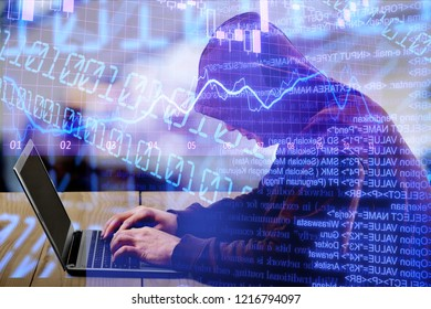 Internet crime concept. Hacker working on a