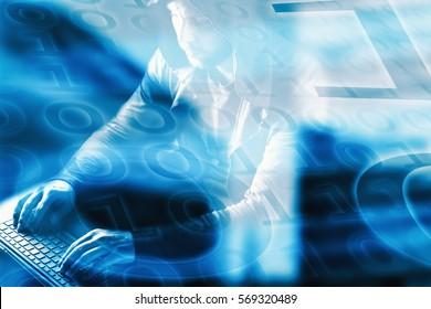 Internet crime concept.Hacker on blue digital background.