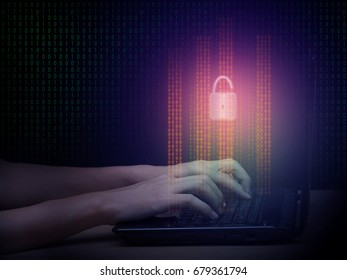 Internet cyber hacker working with laptop in the dark and digital number code graphic display, breaks security concept, seeks to breach defenses and exploit weaknesses in a computer system or network