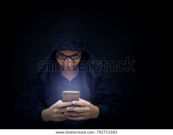 Internet Cyber Hacker Working Mobile Phone Stock Photo (Edit Now