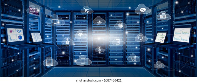 Internet data center room with server and networking device on rack cabinet and kvm monitor with charts on screen and cloud services icon with connection lines, cloud computing concept