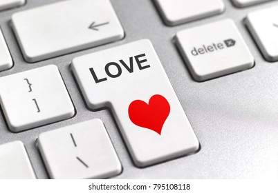 Internet dating love button on keyboard.