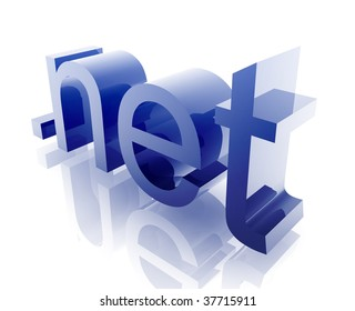 Internet dot net word graphic, with metal chrome style