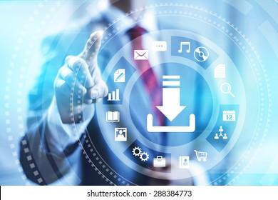 Internet download connection concept illustration