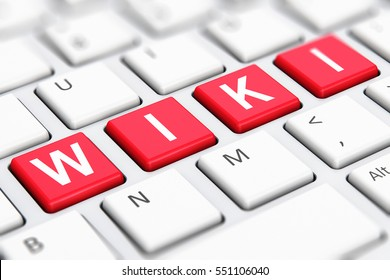 Internet encyclopedia, knowledge database learning and online education studying concept: 3D render of color Wiki word text on white computer PC or laptop notebook keyboard keys with selective focus