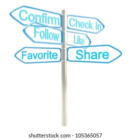Internet is everywhere, social media signpost metaphore isolated on white
