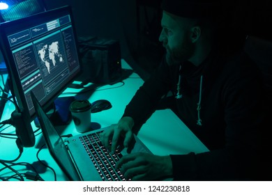 Internet fraud, darknet, data thiefs, cybergrime concept. Hacker attack on government server. Dangerous criminals coding virus programs.