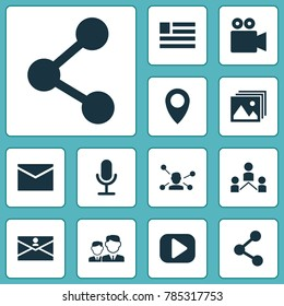 Internet icons set with form, camcorder, relation and other relation elements. Isolated  illustration internet icons.