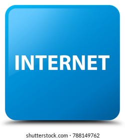 Internet isolated on cyan blue square button abstract illustration