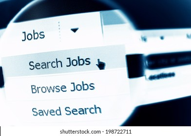 Internet job search menu under magnifier