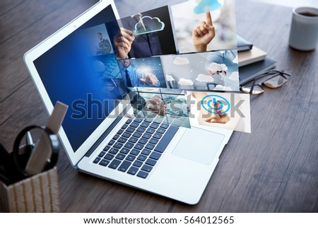 Internet and modern technology concept. Laptop on table