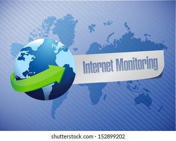 internet monitor concept and globe. illustration design over a white background