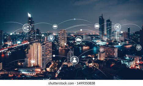 Internet network communication system Connect business contacts in the city.