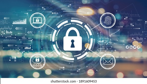 Internet network security concept with blurred city abstract lights background