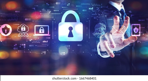 Internet network security concept with businessman on night city background